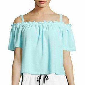 JUICY COUTURE Women's Off The Shoulder Terry Top